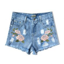 Fashion Summer High-Waisted Embroidered Denim Women's Shorts