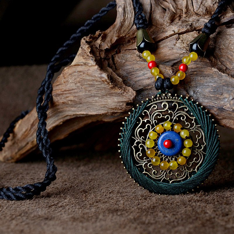 Boho Ethnic Necklace Women stone maxi long Necklace black bohemian Pendant Necklace vintage rope chain 2018 fashion jewelry