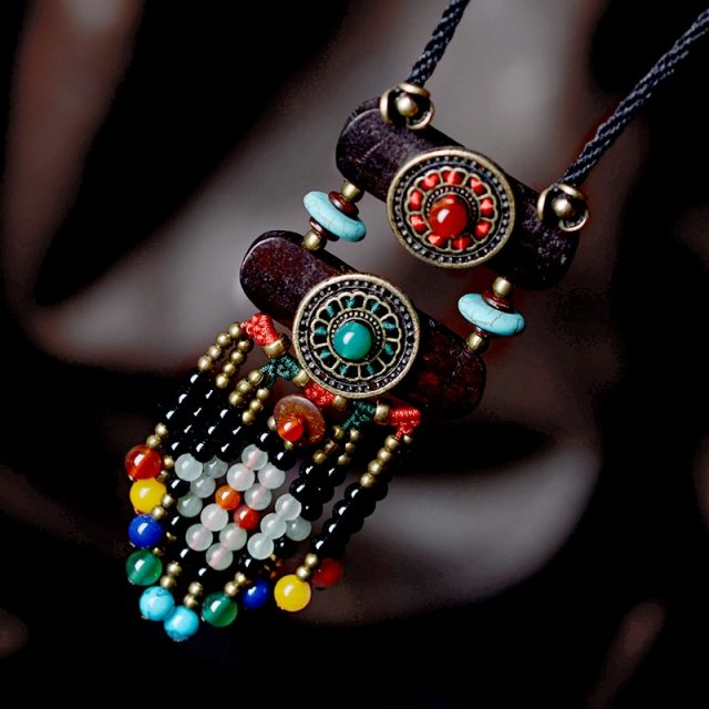 Boho Ethnic Necklace Women stone maxi long Necklace black bohemian Pendant Necklace vintage rope chain fashion jewelry