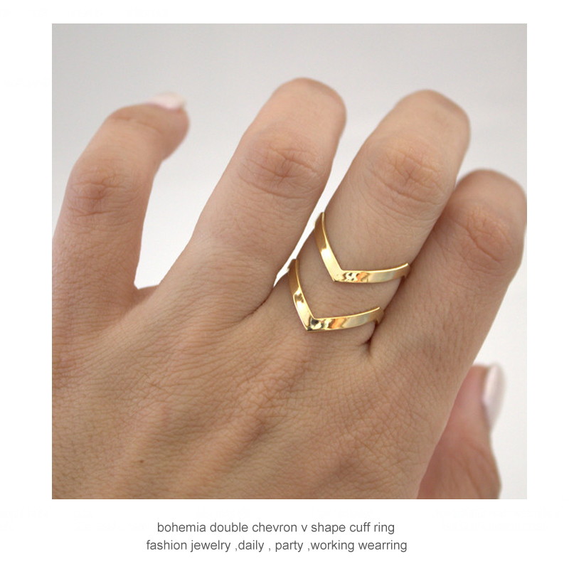 SMJEL 2017 New Fashion Boho Double Lines V Chevron Rings For Women's Gift Simple Geometric Bague Dainty Rings Femme Jewelry R248