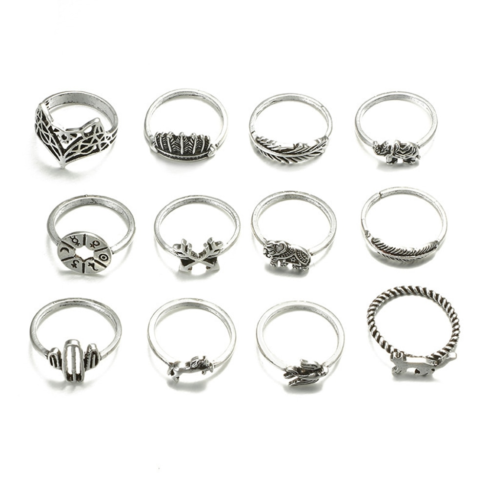 Meyfflin Vintage Knuckle Ring Set for Women Fashion Anel Aneis Bague Femme Stone Silver Midi Finger Rings Boho Jewelry 10pcs/Set