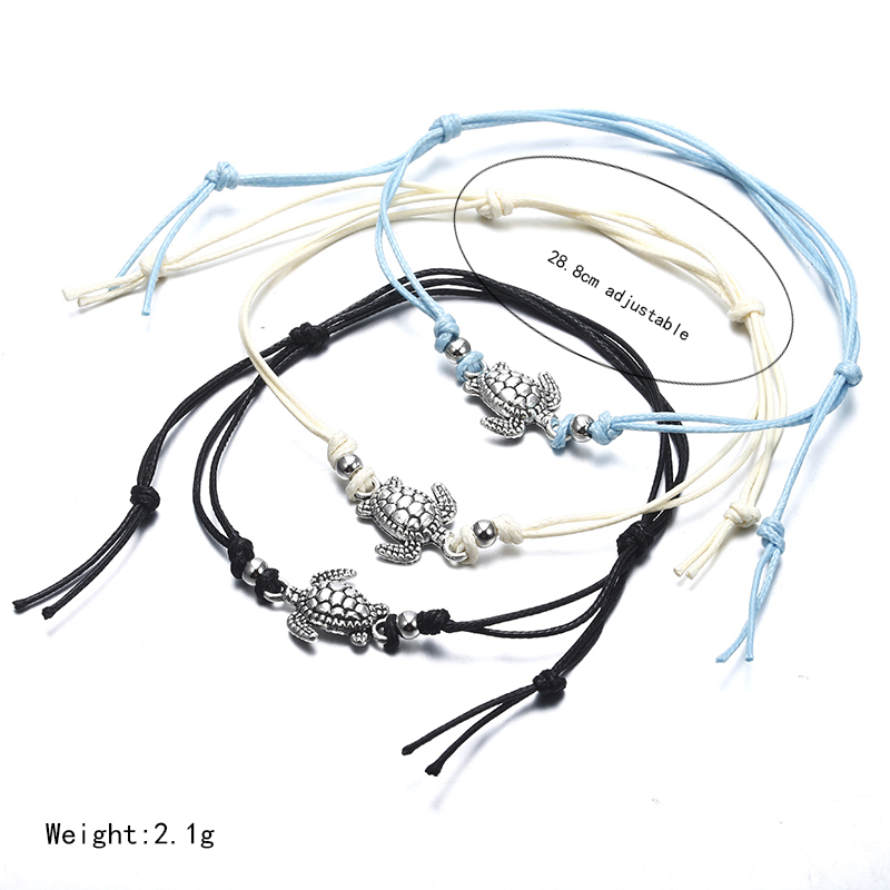 Boho Anklet for Women Fashion Black White Wax String Lacing Foot Jewelry Beads Bracelet Fashion Beach Jewelry ns37
