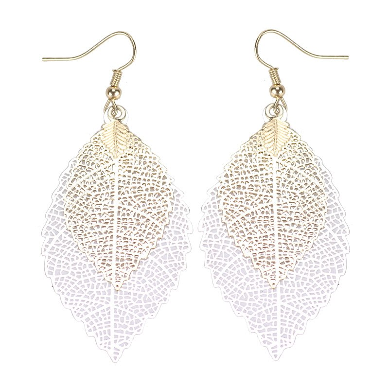 LZHLQ Vintage Leaves Drop Earrings Luxury Boho Bohemian Leaf Dangle Earrings Hollow Out Earrings For Women New Fashion Jewelry