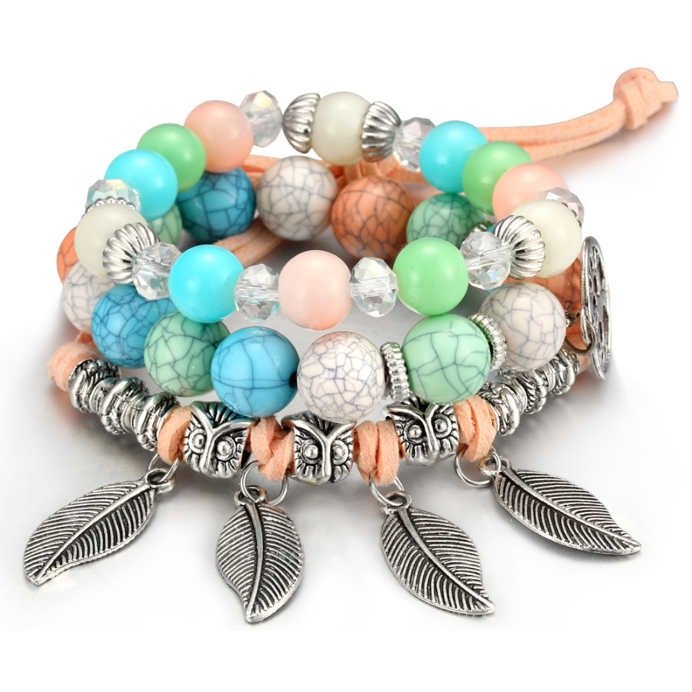 Woman Boho Multilayer Beads Charm Bracelets for Women Vintage Stone Beads Leaves Bracelets & Bangles Pulseras Ethnic Jewelry