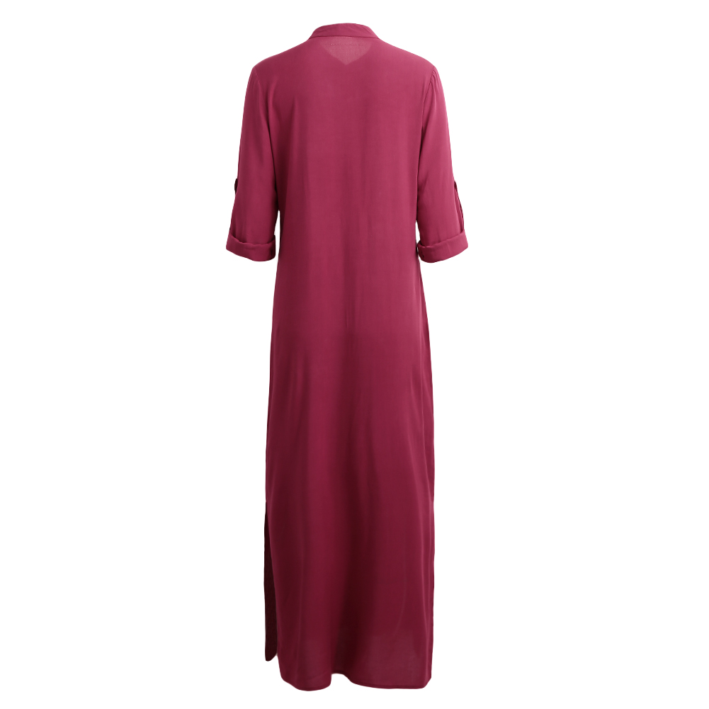 Anself 5XL Fashion Autumn Casual Long Maxi Dress Women V Neck Long Sleeve Beach Dress Plus Size Split Boho Dresses Vestidos