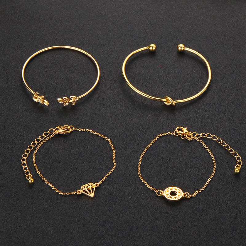 Opening Leaf knot Charm Cuff Bracelets Set for Women