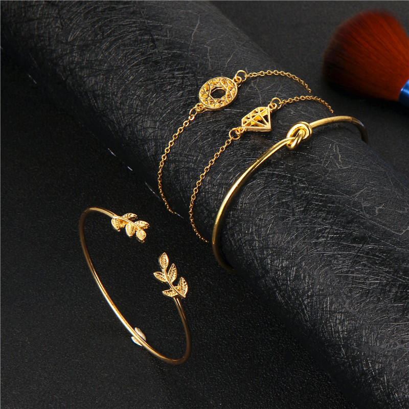 Tocona 4PCS/Set Opening Leaf knot Charm Cuff Bracelets Set for Women Gold Alloy Bracelet Boho Jewelry Accessories 6115