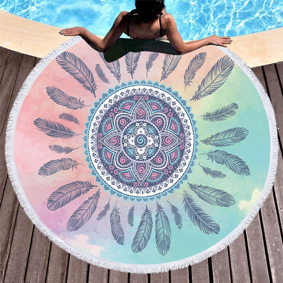 BeddingOutlet Feathers Tassel Mandala Tapestry Boho Round Beach Towel Pink and Blue Toalla Sunblock Blanket Bohemian Yoga Mat