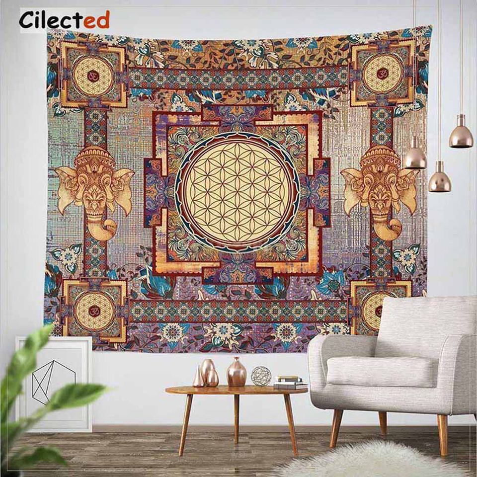 Cilected India Mandala Tapestry Gobelin Hanging Wall Floral Tapestry Fabric Polyester/Cotton Hippie Boho Bedspread Table Cloths