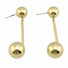 Trendy Circle Bib Beads Smooth Face Ball Earrings