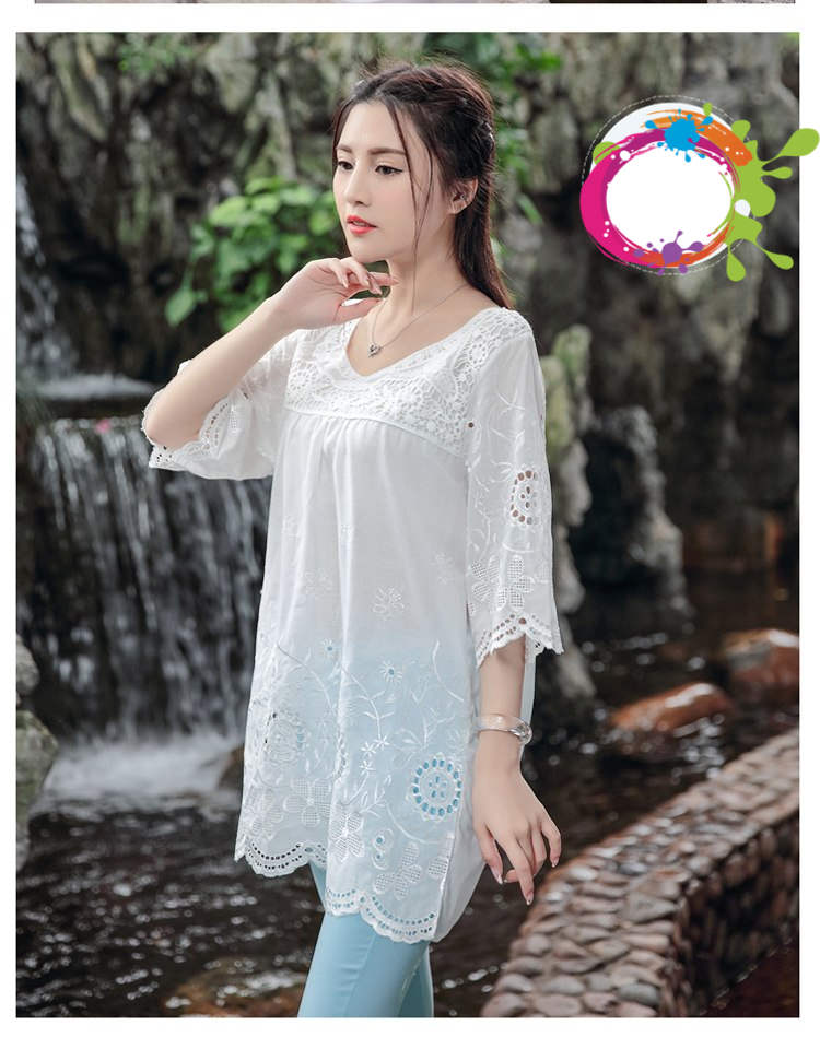 2018 New Summer Style Bohemian Embroidery Cotton Women Top Blouses Summer Blusa Feminina Women Shirts Camisa Feminina Plus Size
