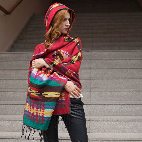 RUNMEIFA Women Winter Bohemian Hooded Coat Cape Wrap Poncho Shawl Scarf cotton and acrylic Tribal Fringe New Hoodie Dropshipping