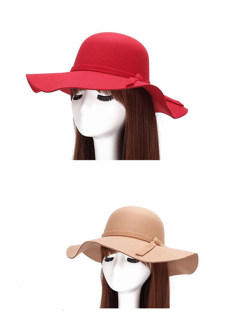 Autumn Winter Summer Fashion Fedoras Vintage Pure Women's Beach Sun Hat Female Waves large Brim Sunbonnet Fedoras lady Sun Hat