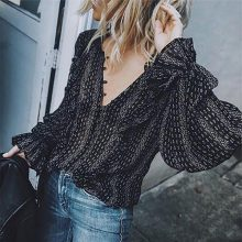 Black Office Balloon Long Sleeve Blouse